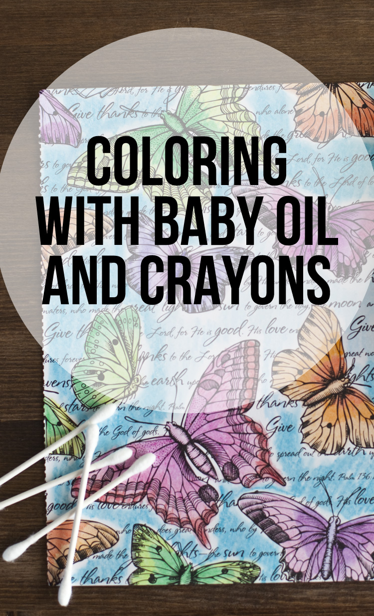 Coloring with Baby Oil and Crayons - use these simple supplies to create a great watercolor effect.