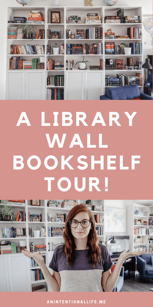 A Library Wall Bookshelf Tour - all the books, games and plants on my bookshelves!