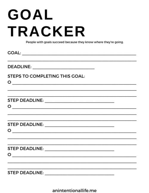 Free printable goal tracker for helping you track and achieve your goals