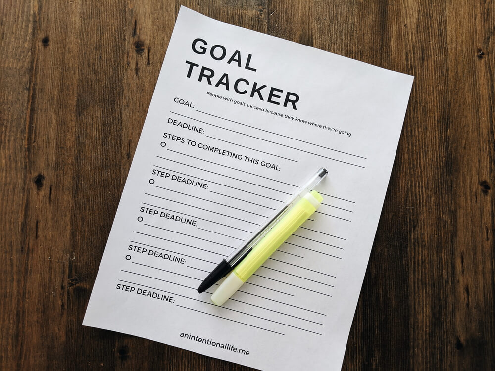 Free printable Goal Tracker to help you break down your goals and keep track of your goal deadlines