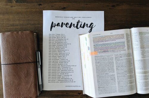 Monthly Scripture Writing Challenge - Parenting: Bible verses and passages on parenting