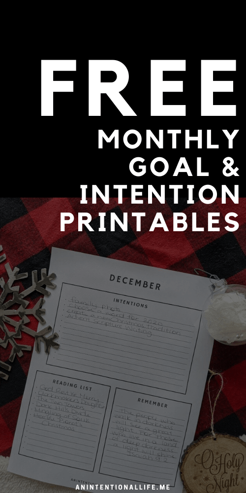 Free Printable Monthly Goal and Intention Sheets