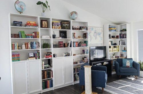 January Reading Wrap Up - Bookcase wall!