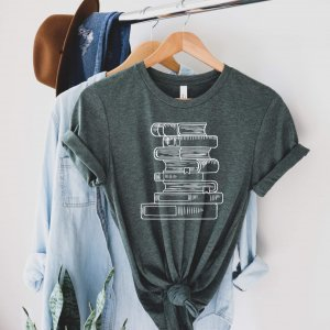 Bookstack Tee in Forest Heather